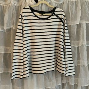 Ulla Popken knit striped blouse with button detail